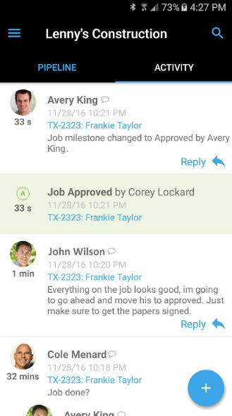 AccuLynx screenshot: The activity feed in AccuLynx updates in real time