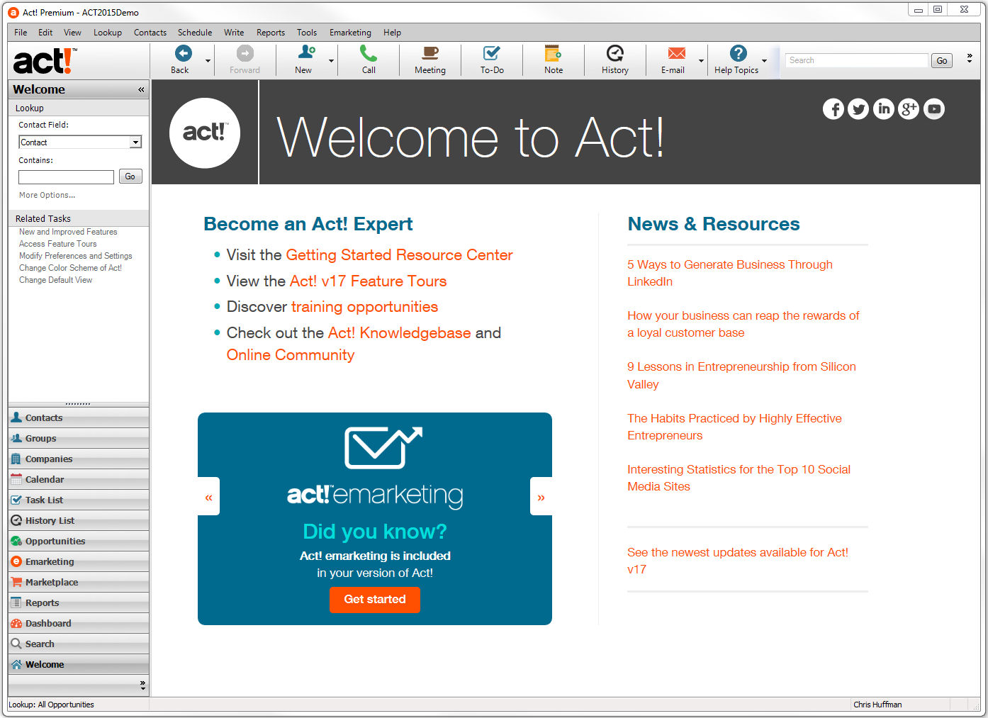 Act! screenshot: Act! - Welcome page