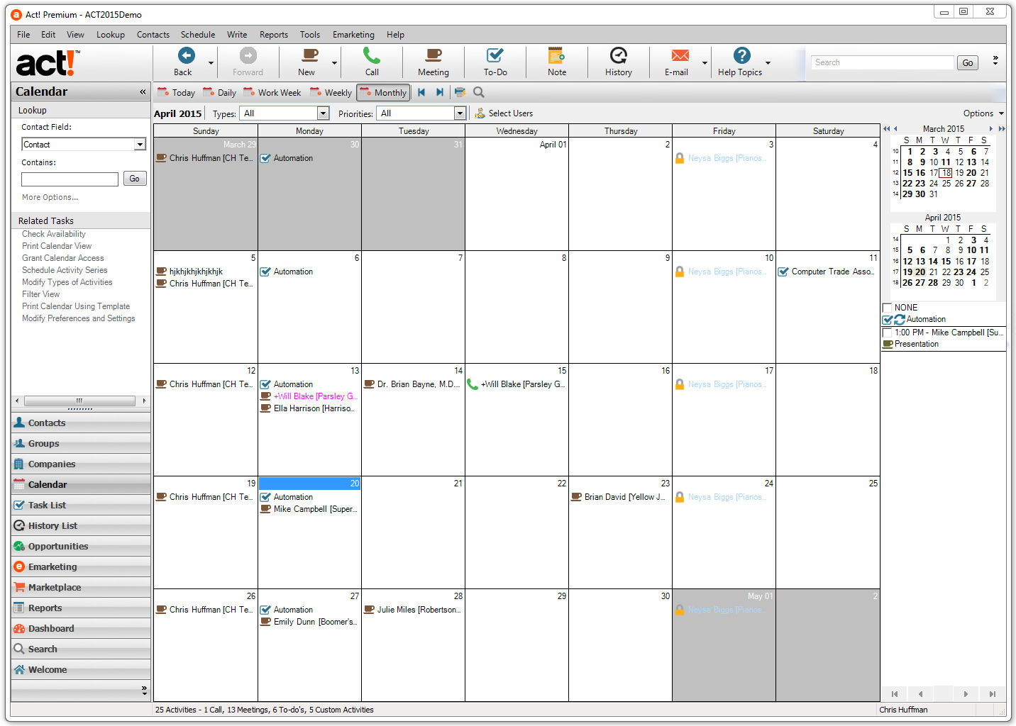 Act! screenshot: Act! - Calendars