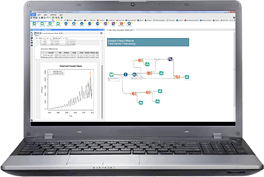 Alteryx screenshot: Alteryx Designer sharing insights shown on laptop