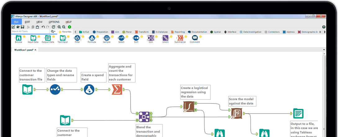 Alteryx screenshot: Alteryx Designer workflow editor