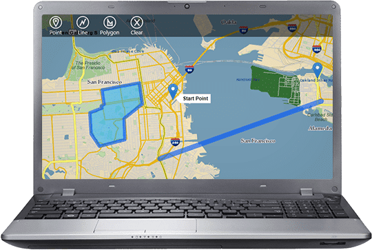 Alteryx screenshot: Alteryx showing spatial analytics on laptop