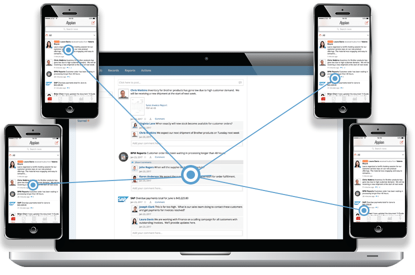 Appian screenshot: Case management service requests allow users to communicate between team members, customers and partners