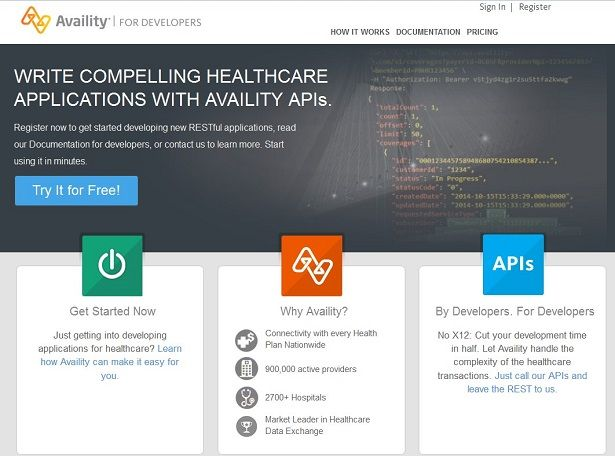 Availity Developer Portal Screenshot