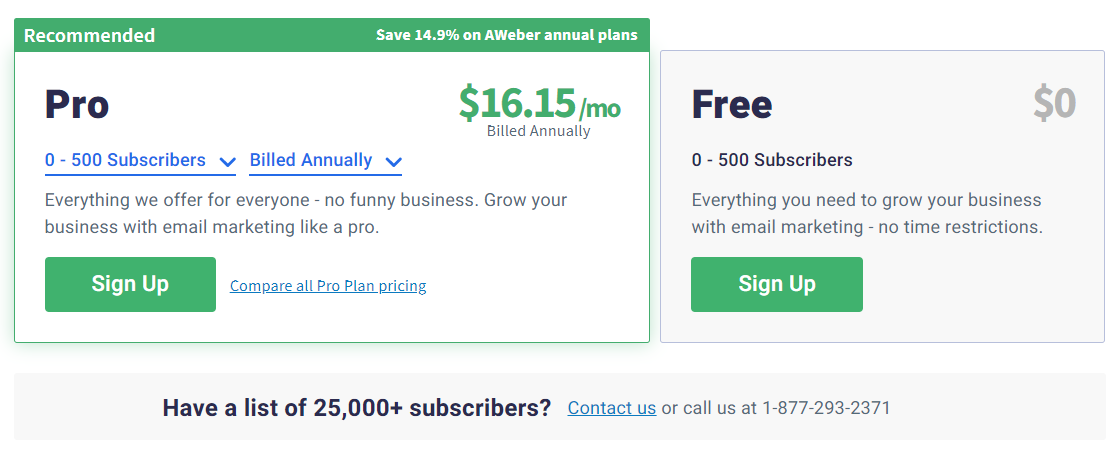 Sendinblue alternatives - AWeber pricing