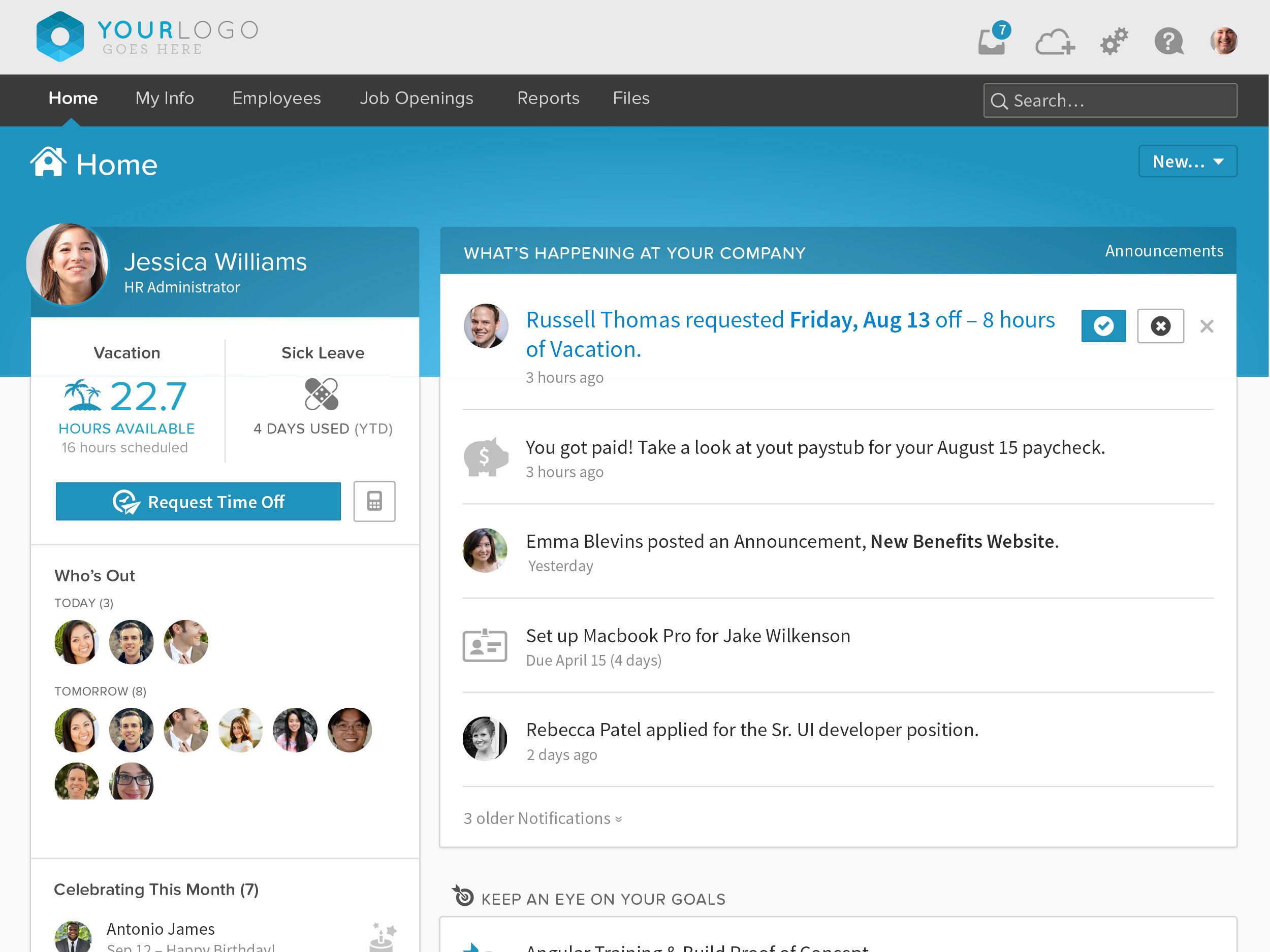 BambooHR screenshot: BambooHR Employee Home