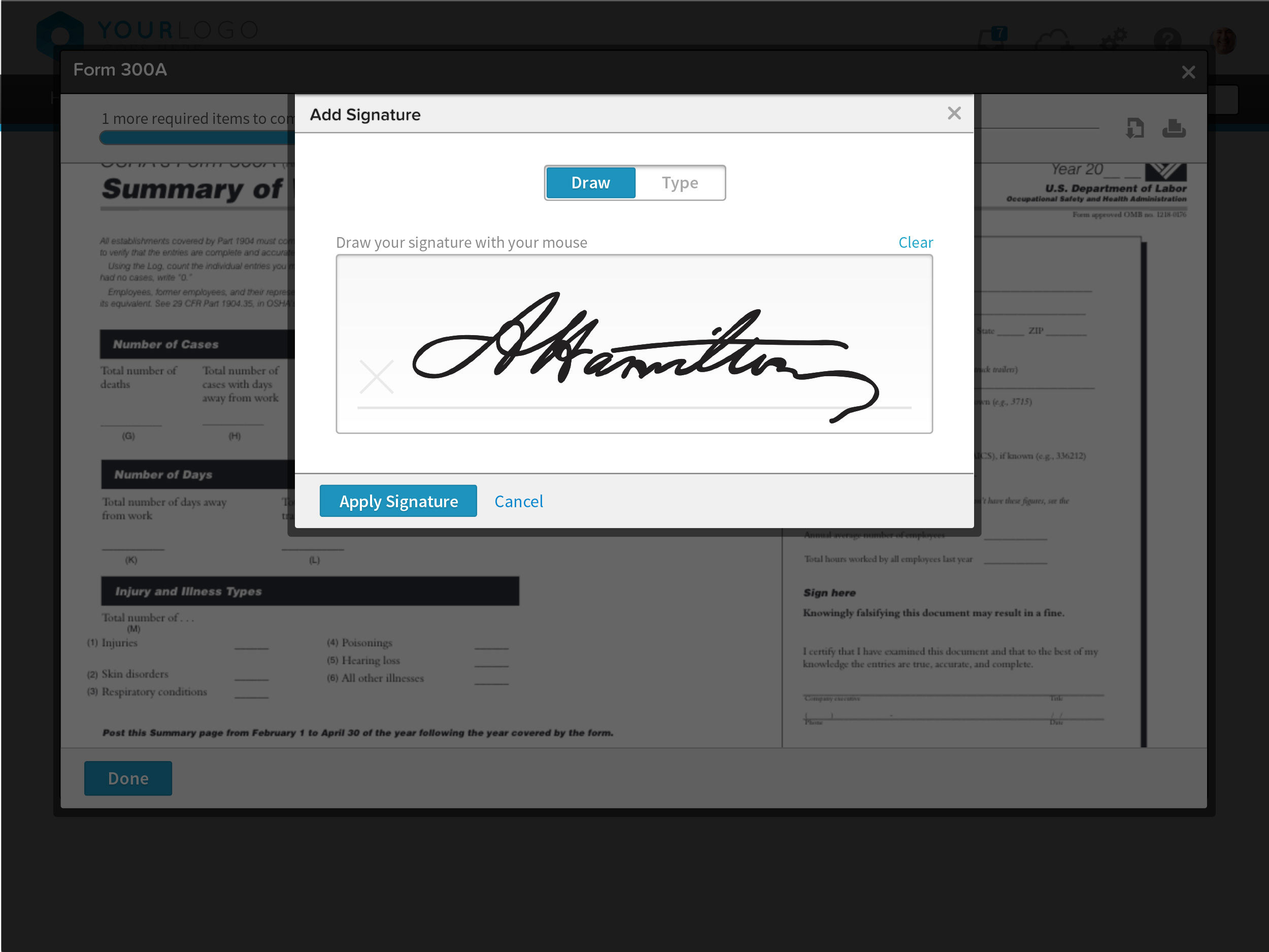 BambooHR screenshot: BambooHR E-Signature