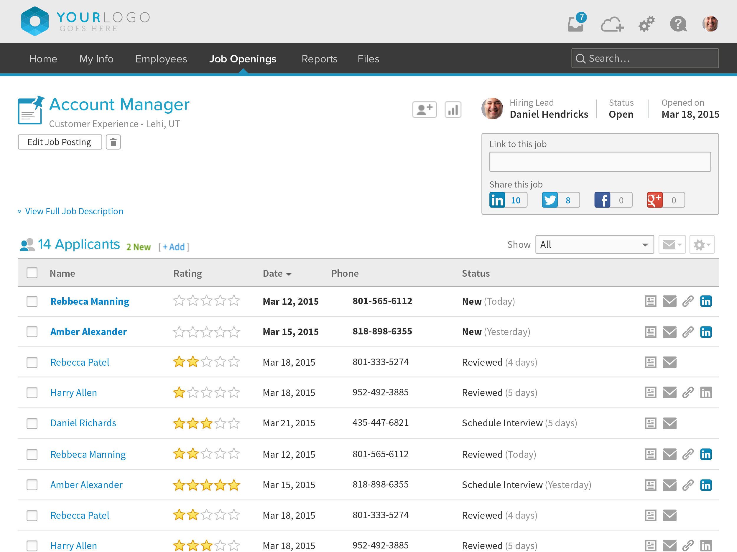 BambooHR screenshot: BambooHR Job Applicant Tracking