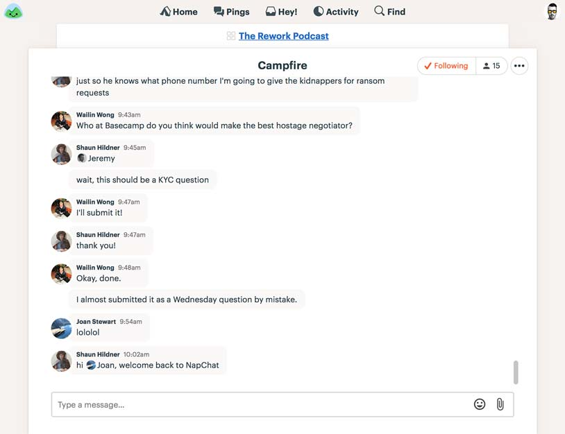 Basecamp screenshot: Group chat and instant messaging are built in to Basecamp, eliminating the need for a separate chat tool