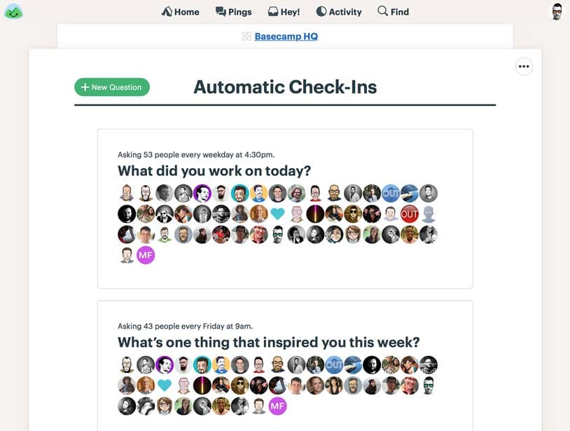 Basecamp screenshot: Automatic check-in questions can be customized