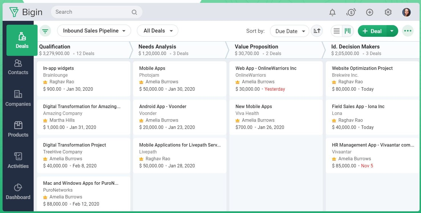 Bigin by Zoho CRM Screenshots