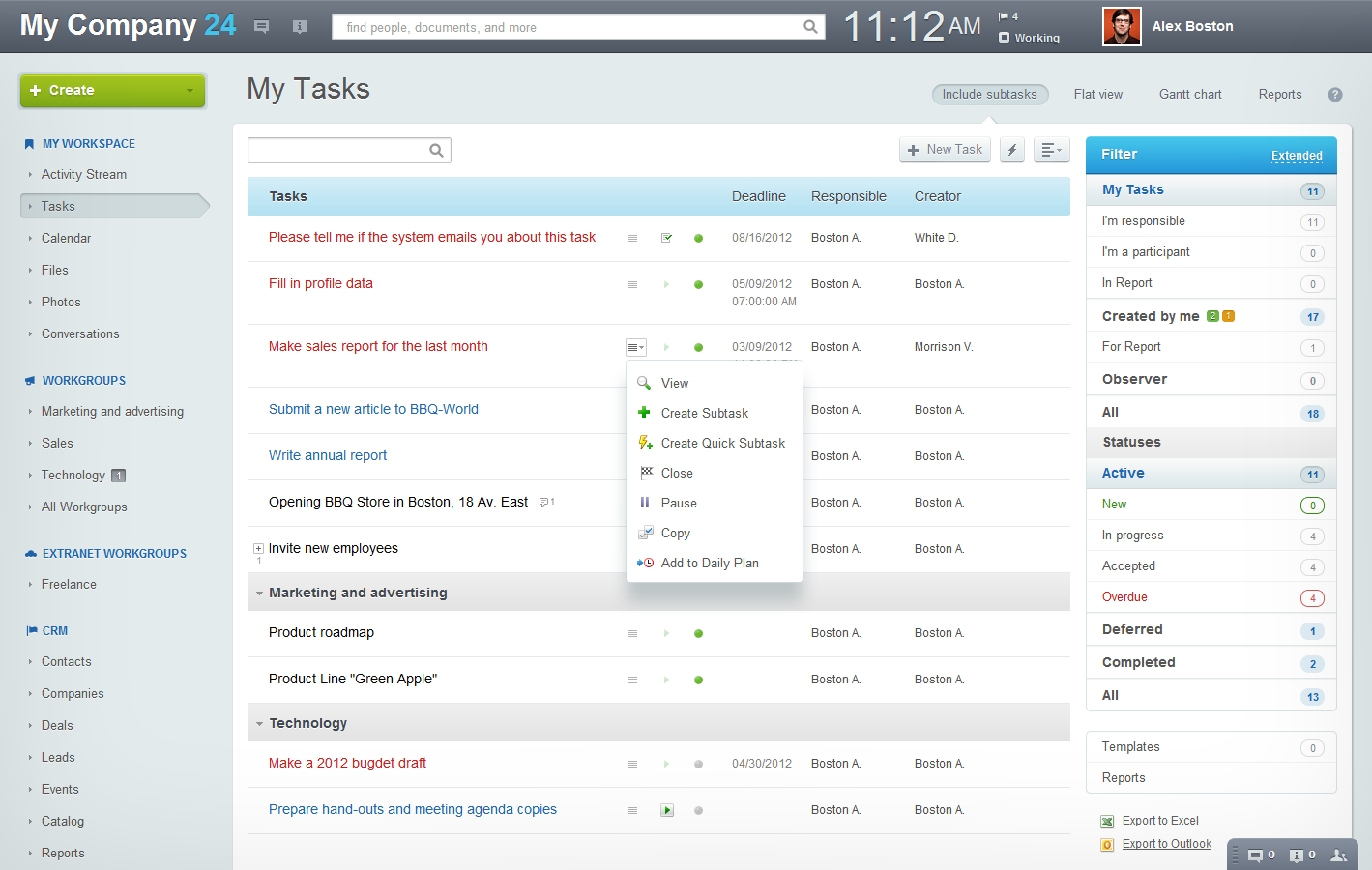 Bitrix24 screenshot: Tasks