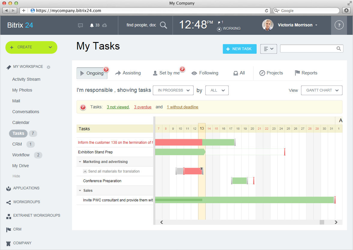 Bitrix24 screenshot: Gantt Chart