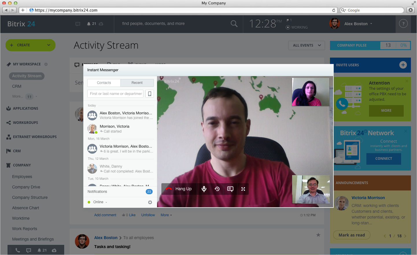 Bitrix24 screenshot: Video Conferencing