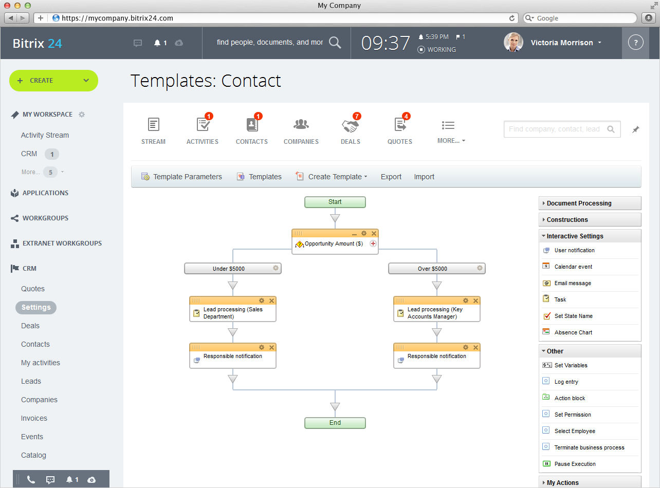 Bitrix24 screenshot: Business Processes