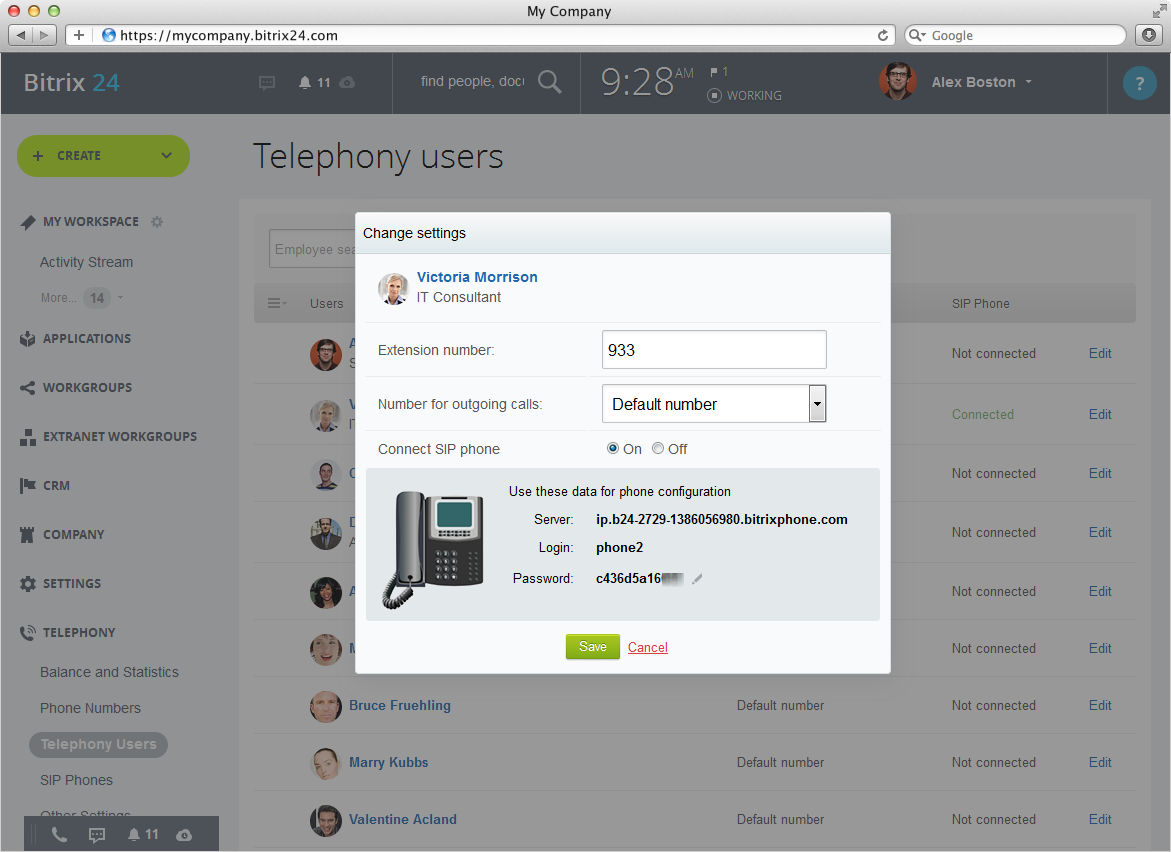 Bitrix24 screenshot: Built-in Telephony