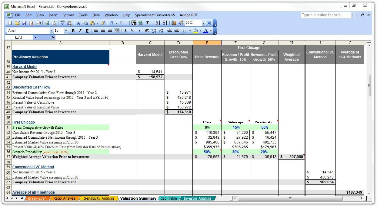 Business / Deal Valuation Screenshot