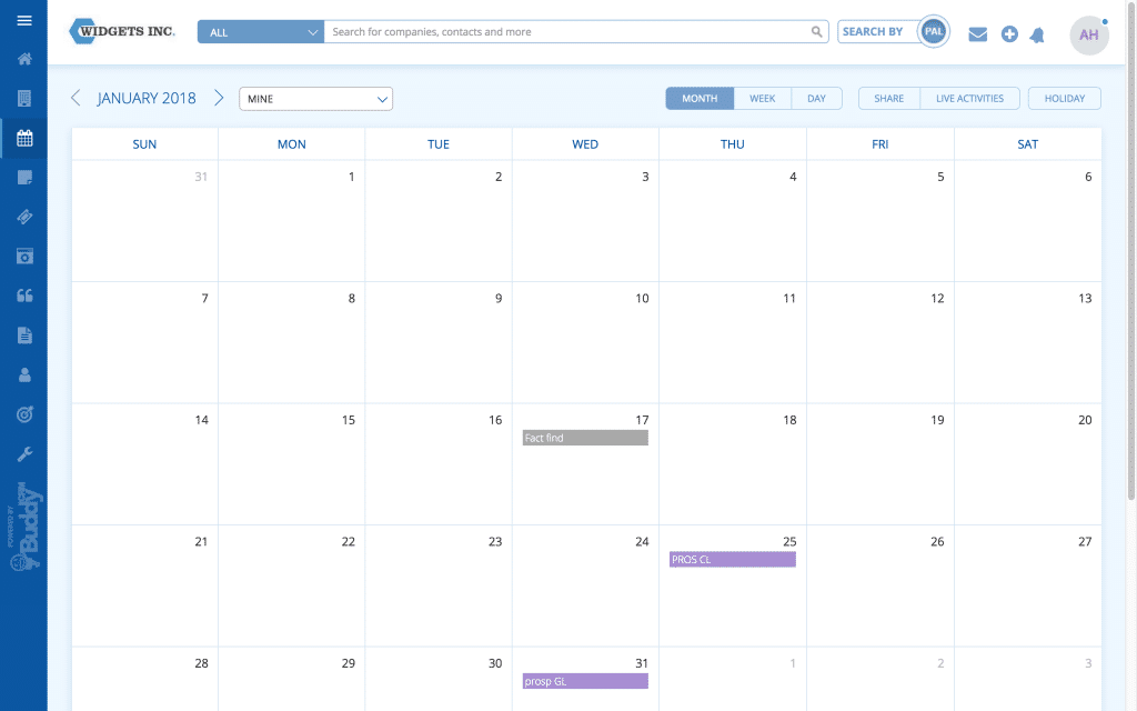BuddyCRM : Calendar screenshot