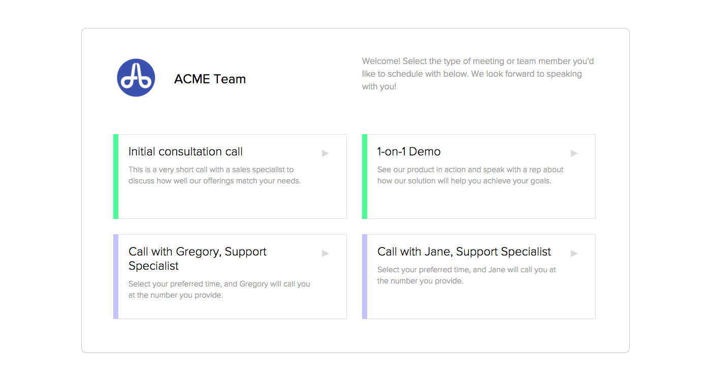 Calendly screenshot: Calendly allows invitees to choose both the type of meeting required and the team member they with to speak to