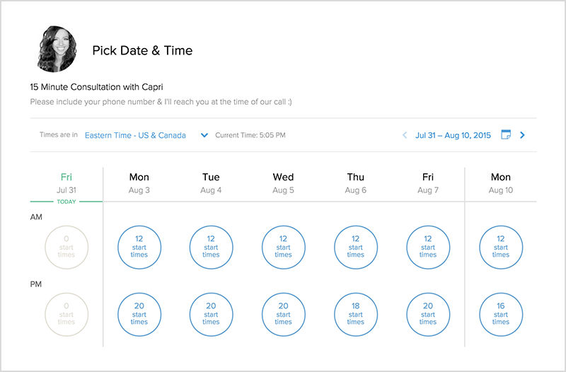 Calendly screenshot: Calendly allows invitees to choose appointments from users' preset availability times