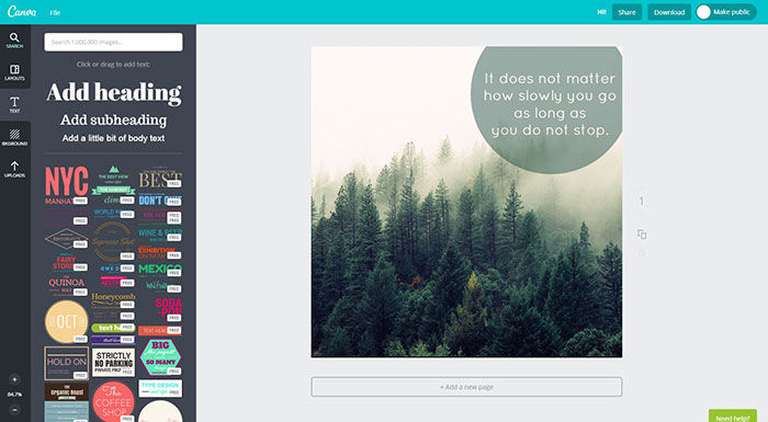 Canva screenshot: Click and drag a style to add headings and text