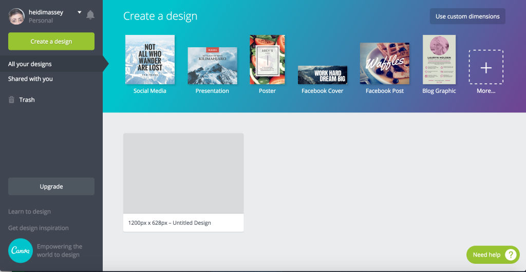 Canva screenshot: Choose from a variety of designs including social media, presentation, poster, Facebook cover or post, blog graphic, and more
