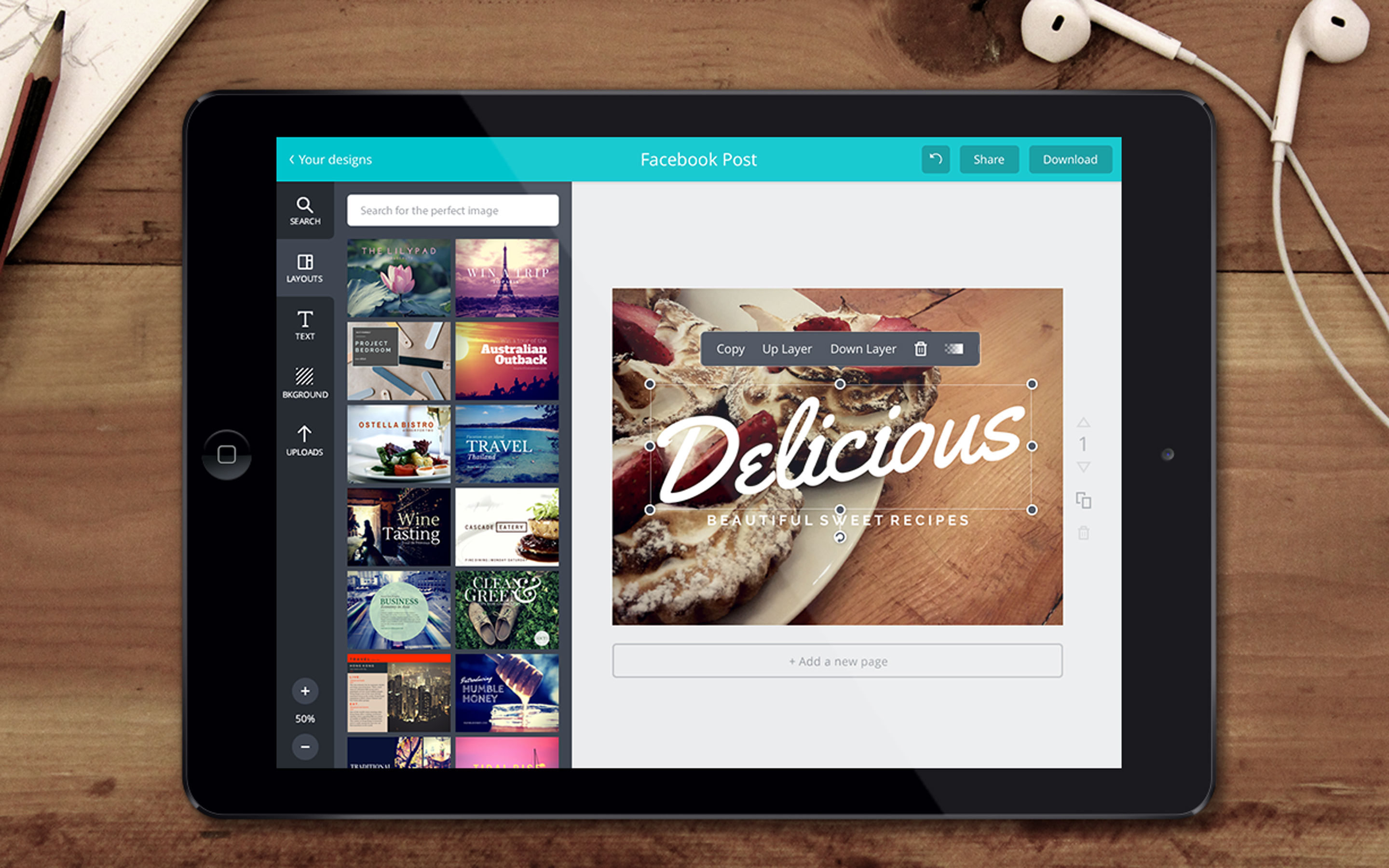 Canva screenshot: Upload custom images to the editor or choose from Canva's extensive library of images