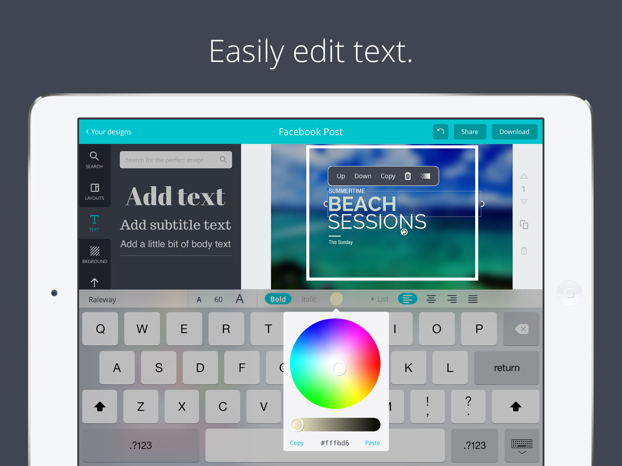 Canva screenshot: Convey messages by adding text or captions to designs