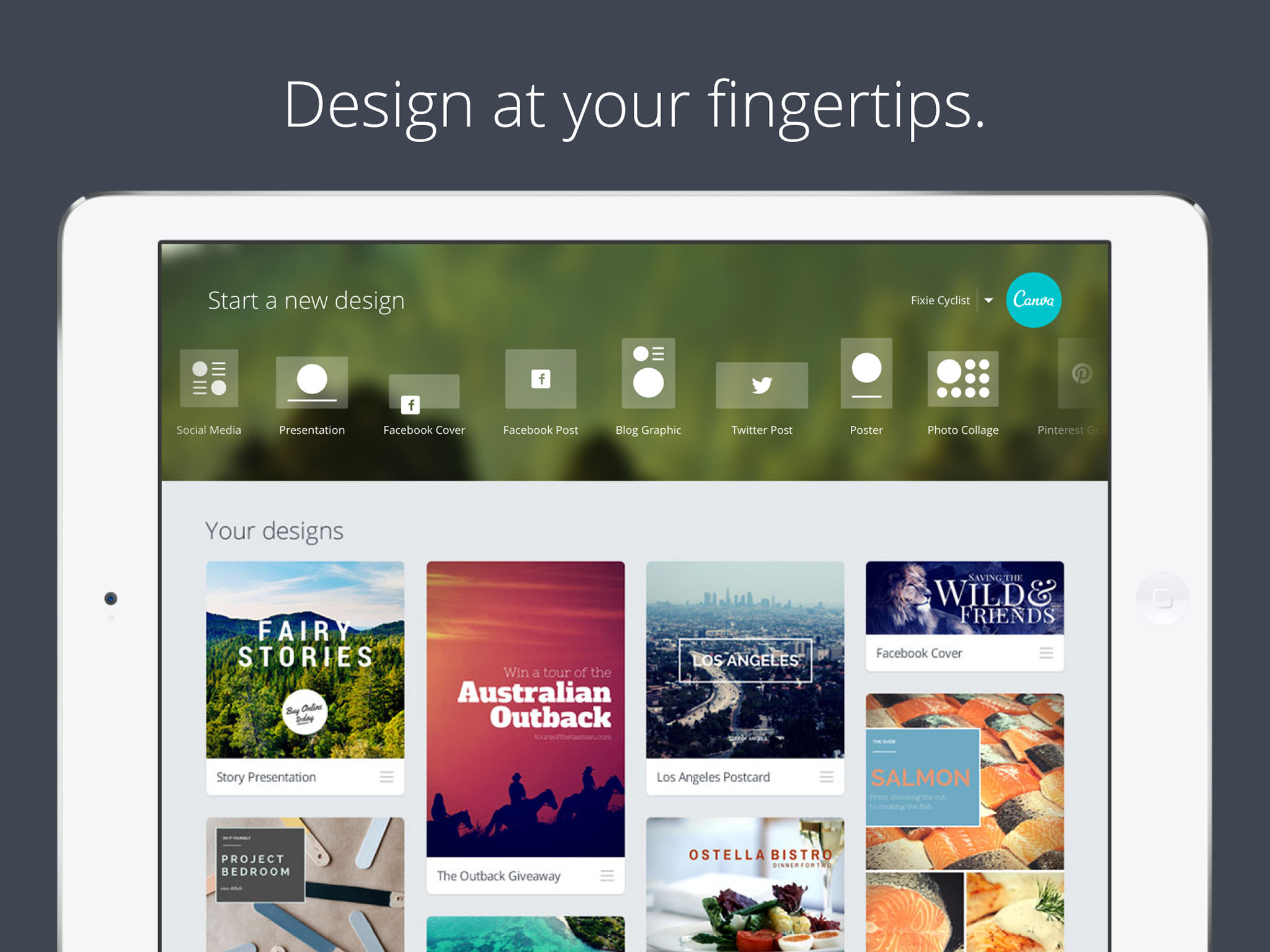 Canva screenshot: Get access to more than hundreds of professional templates via iPad and tweak them to suit any need