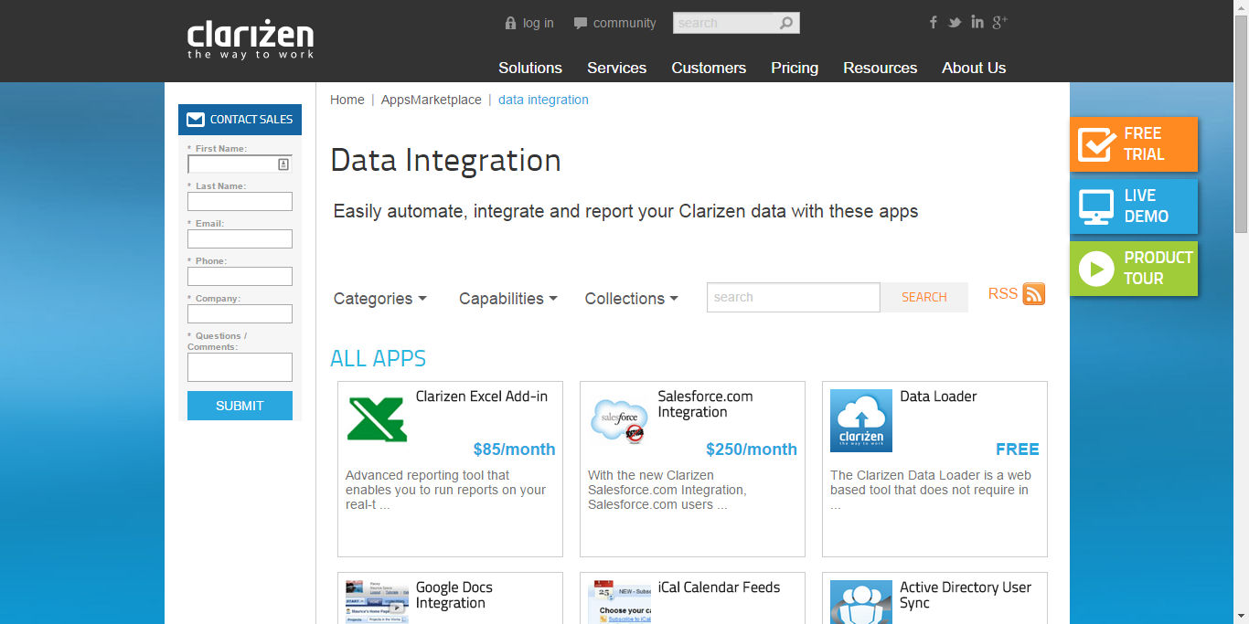 Clarizen screenshot: Automate, integrate and report with Clarizen's integrations