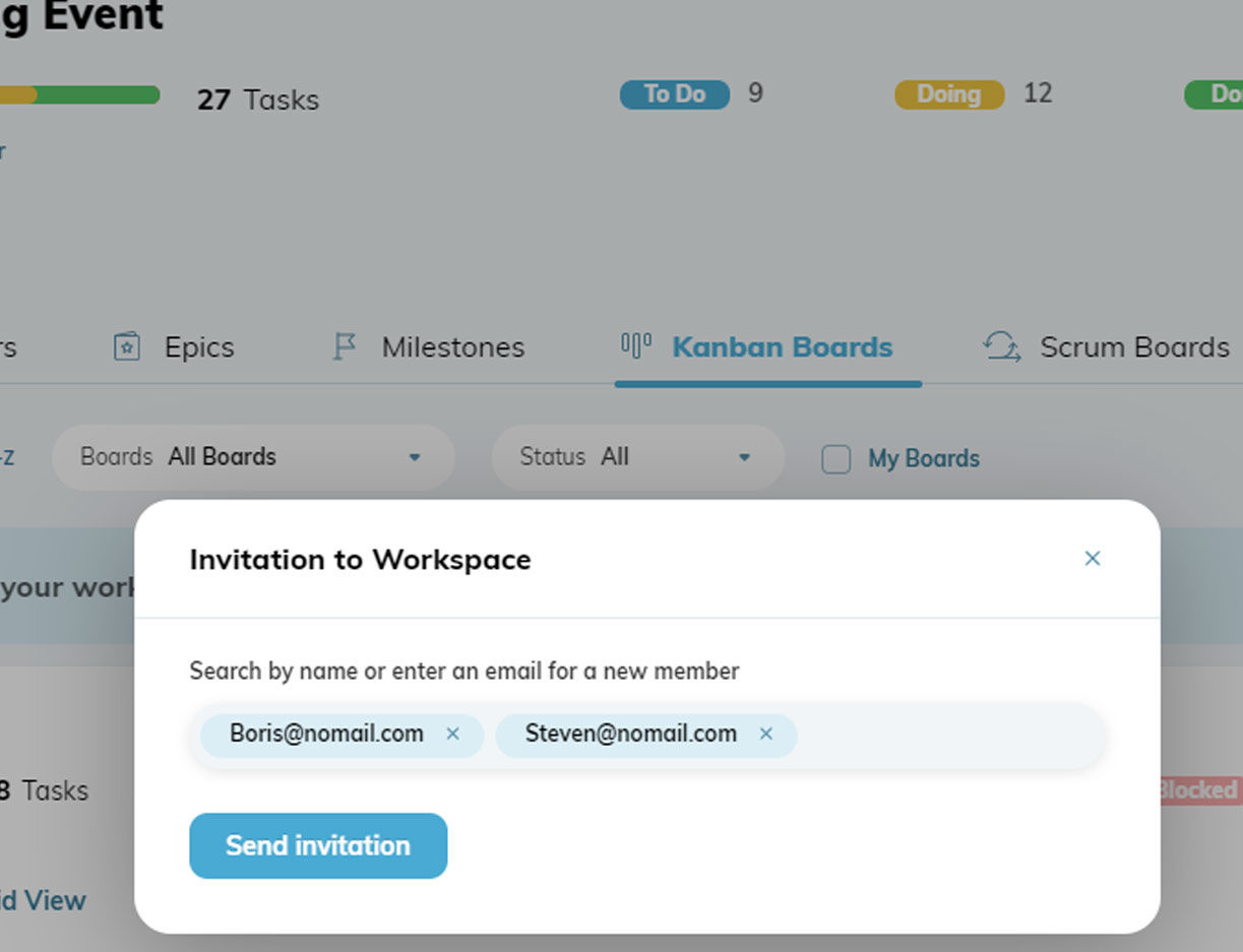 Invitation to Workspace