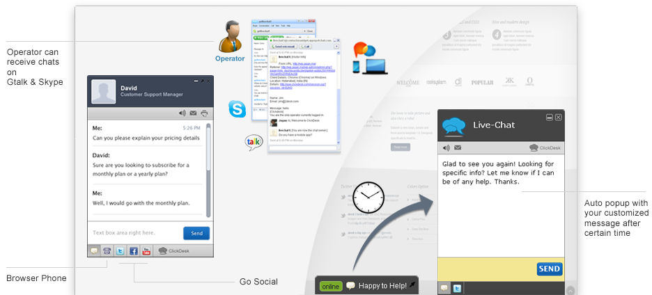 ClickDesk screenshot: Live chat interface