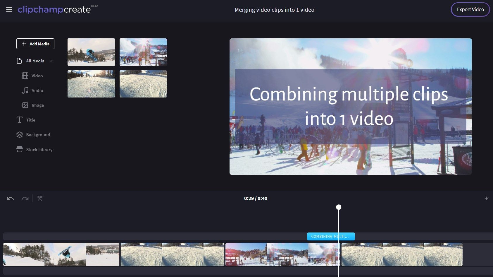 How to combine video files online - Clipchamp