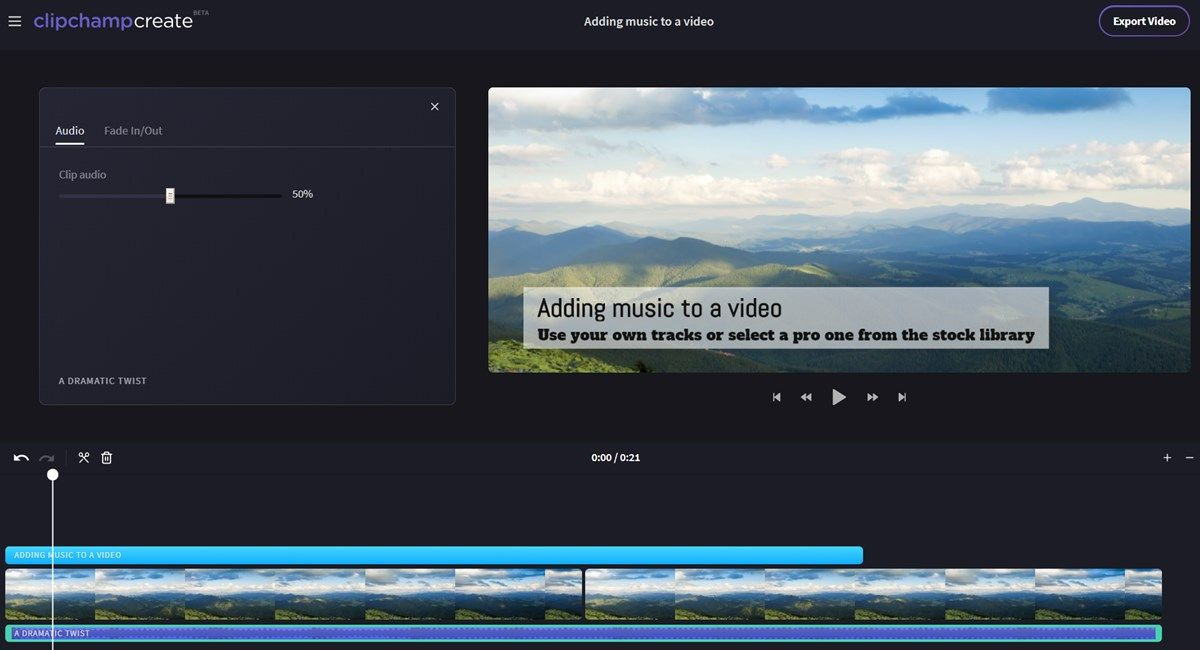 Add audio to a video online with this easy video edito