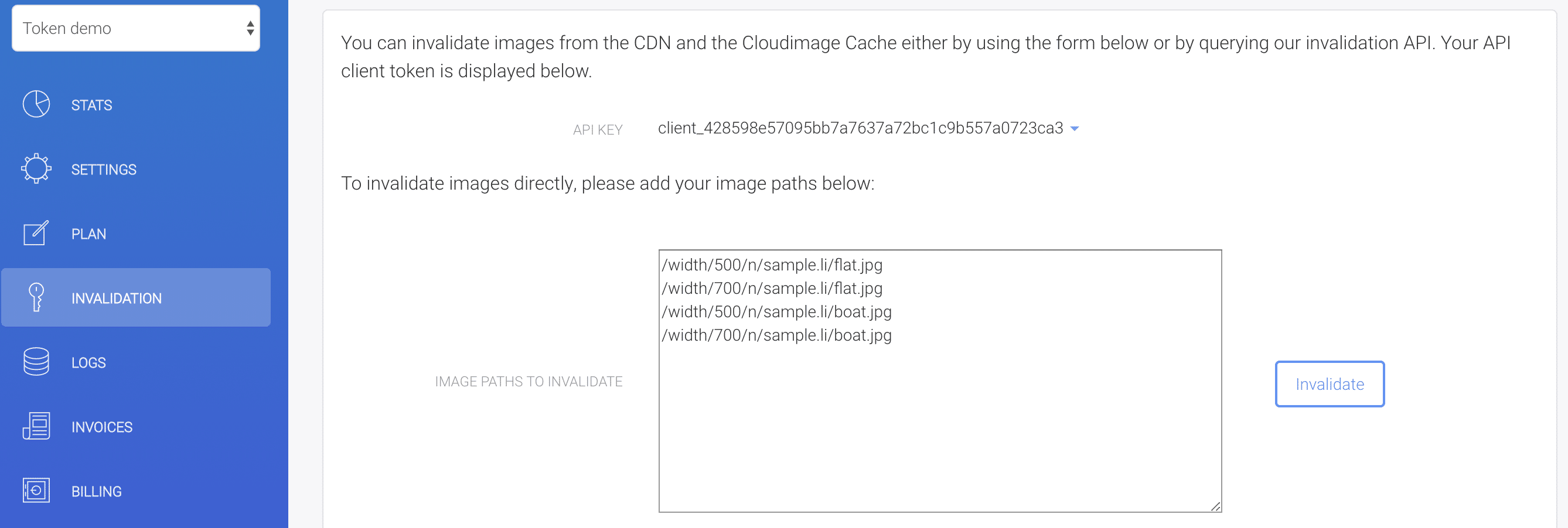 Invalidate the image from the CDN and Cloudimage caches