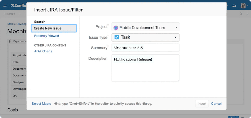 Atlassian Confluence screenshot: Use our first class JIRA integration to add context to your issues in Confluence