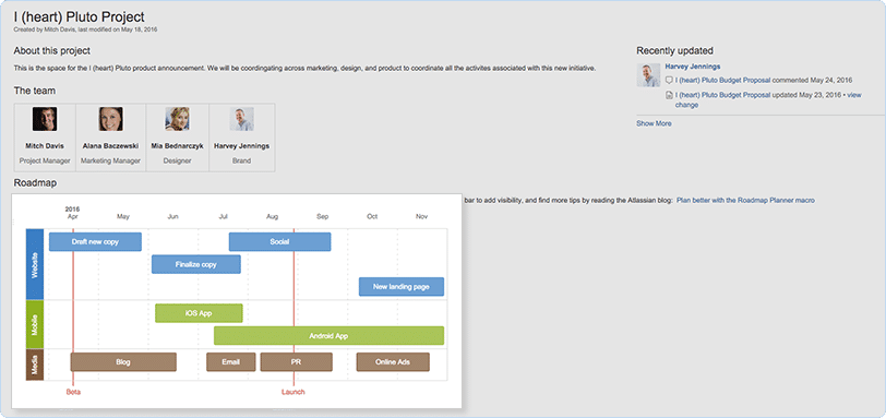 Atlassian Confluence screenshot: Create roadmaps to keep your team on track for important projects and launches