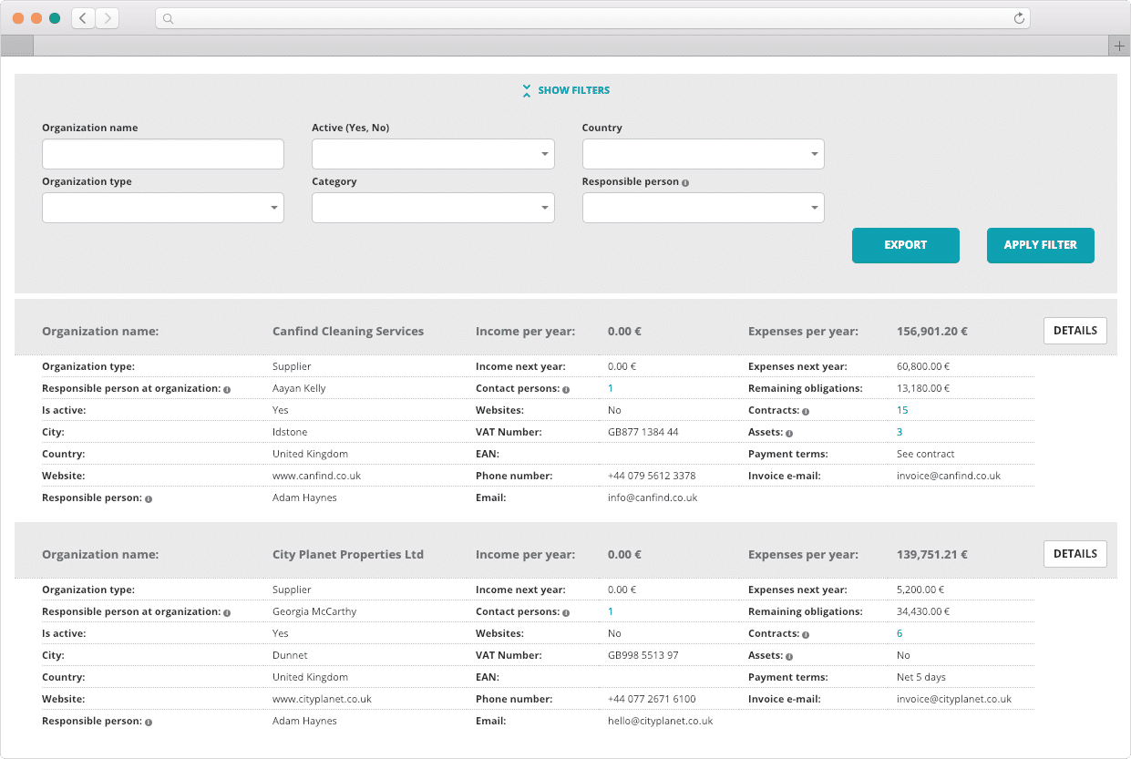 Contractpedia : Companies screenshot