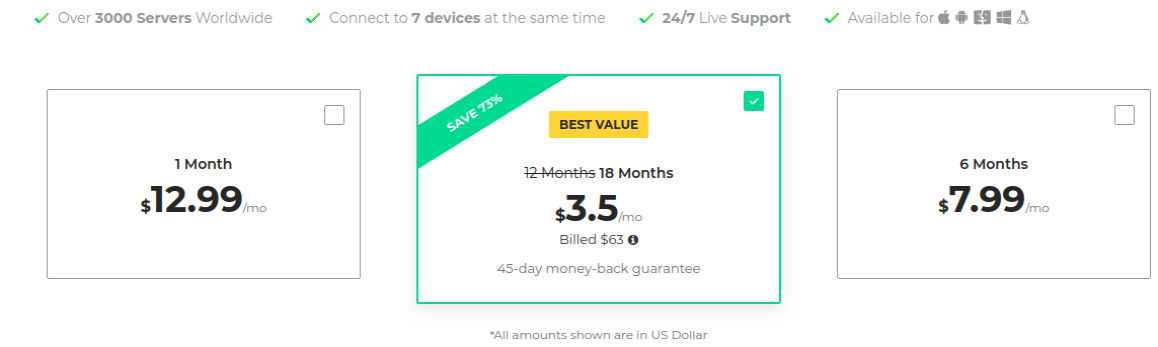 CyberGhost VPN Pricing