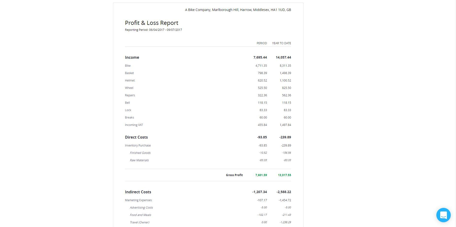 Debitoor screenshot: Financial reporting in Debitoor | With our larger plans, you can create financial reports with just a few clicks. Debitoor uses your existing data to automatically create Profit & Loss reports, VAT reports and balance sheets.
