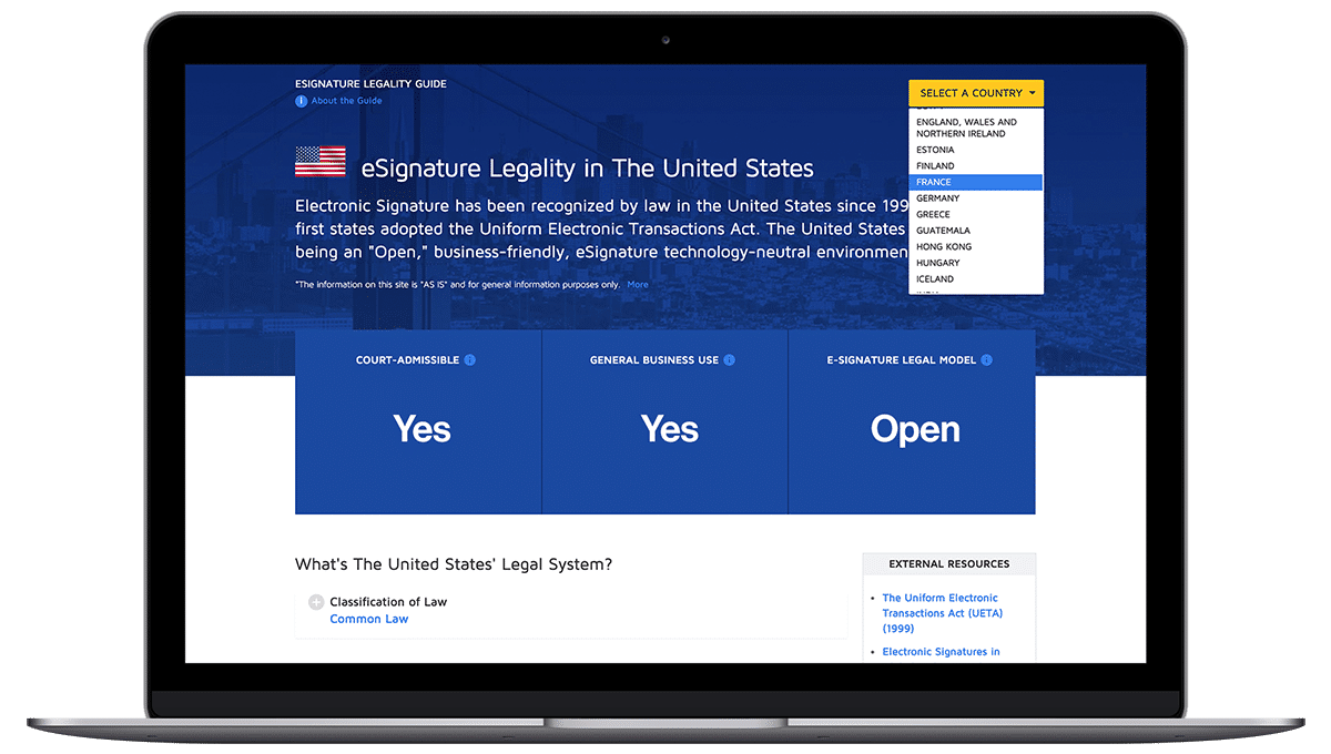 DocuSign : Legally binding screenshot
