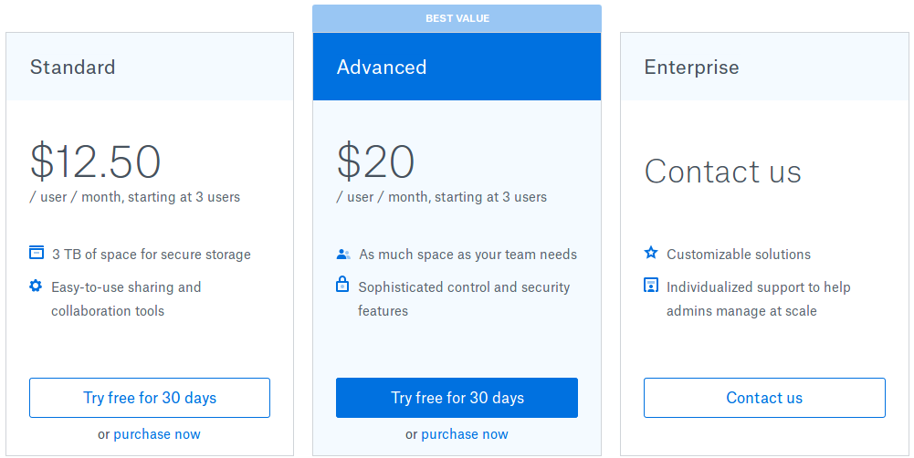 Dropbox Business Pricing