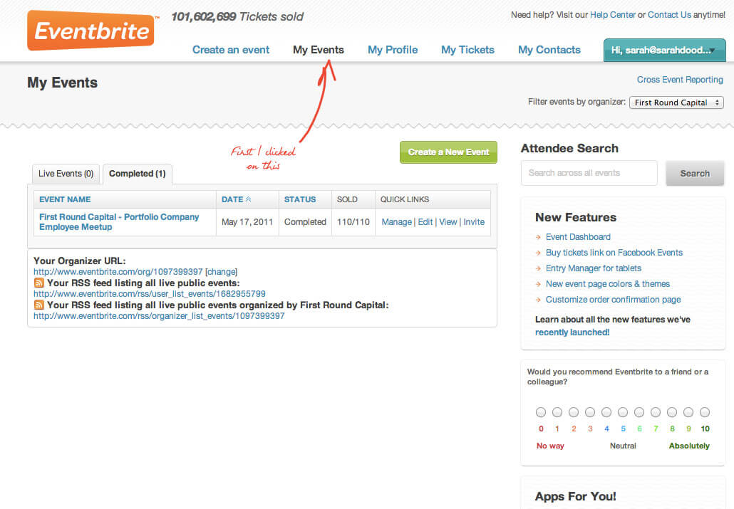 Eventbrite screenshot: Manage multiple events within the Eventbrite platform