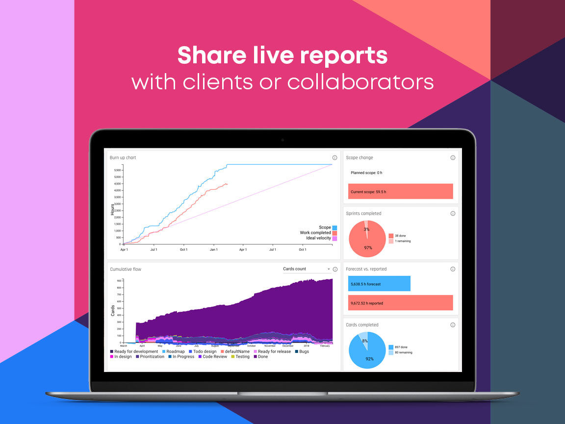 Forecast screenshot: Create and share custom live reports on project insights