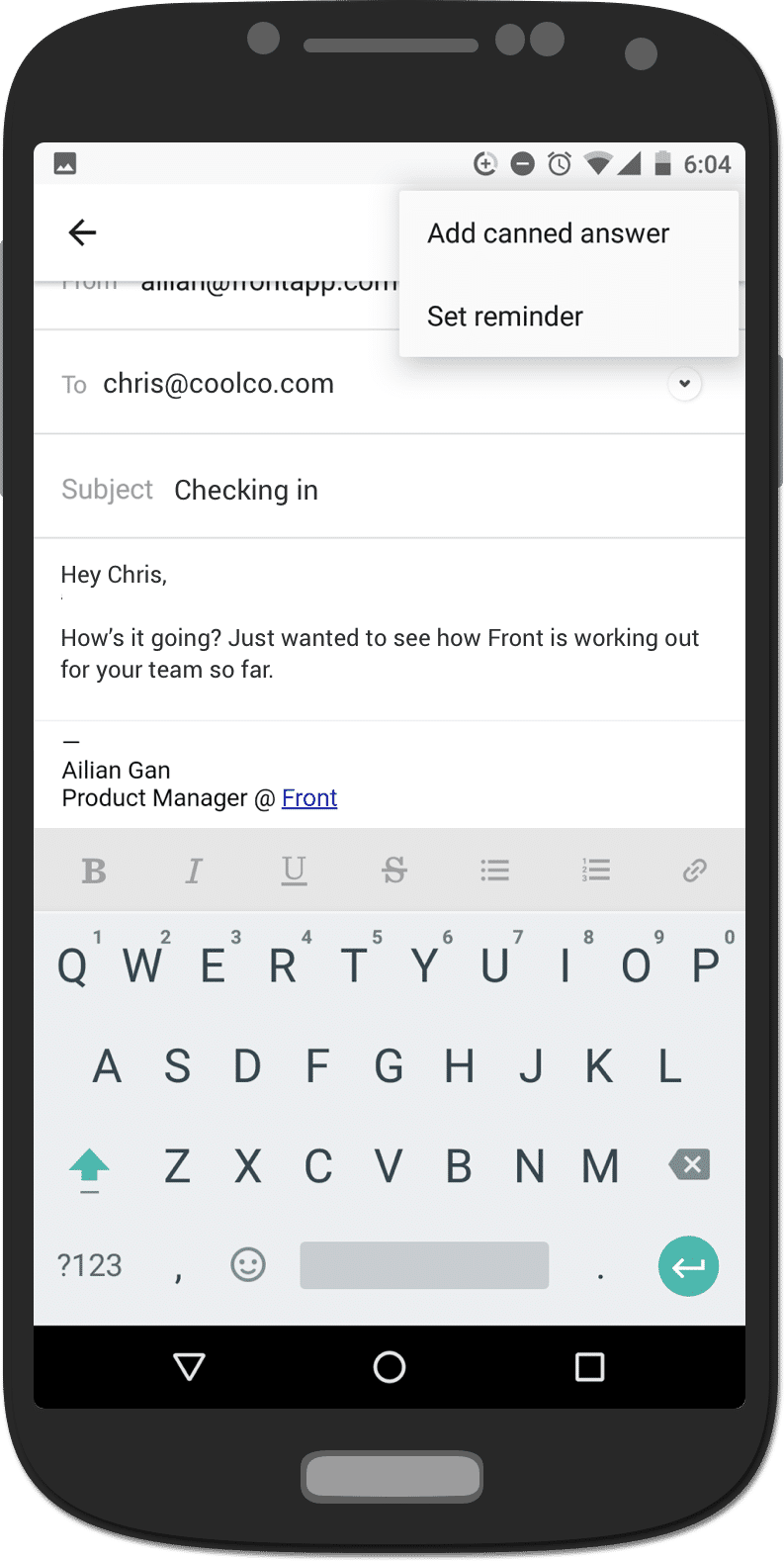 Front screenshot: Android mobile app to respond on the go