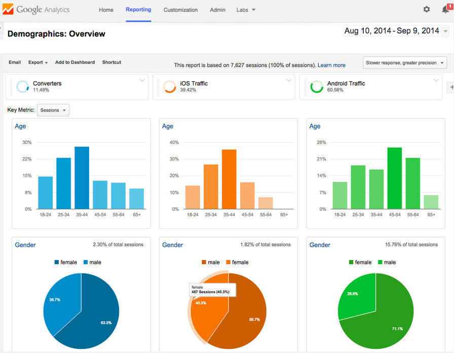 Google Analytics screenshot: Google Analytics audience demographics reporting