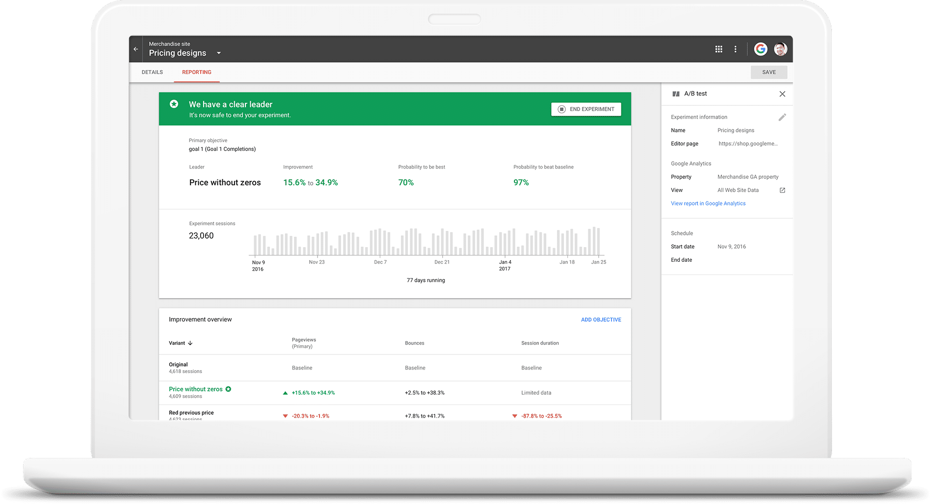 Google Optimize Demo - Optimize Test Results