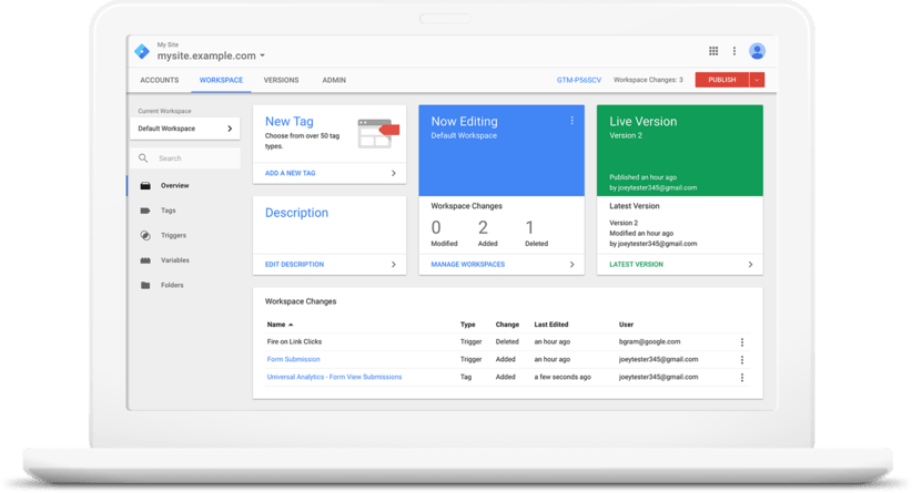Google Tag Manager Screenshots