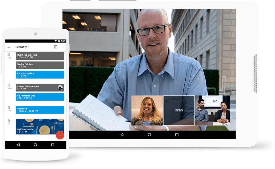 G Suite screenshot: Turn meetings into video conferences from any camera-enabled device