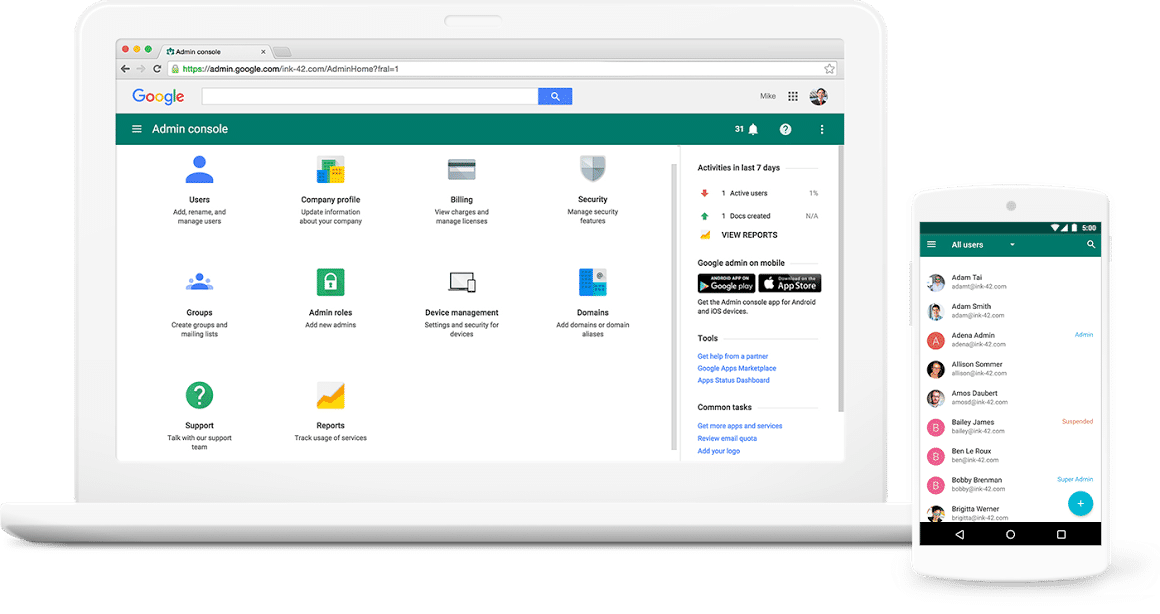 G Suite screenshot: Protect company data and devices with single-sign-on & two-factor authentication options